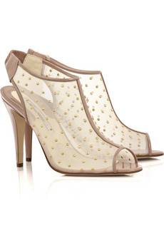 Brian Atwood�Gaga studded mesh ankle boots