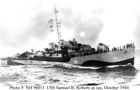 DE 413, a U.S. Navy Butler-class destroyer escort, shown in naval camouflage not long before the Battle off Samar.