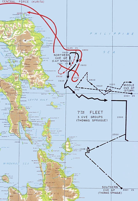 Map of the Battle off Samar during the Battle of Leyte Gulf. Scanned from Reports of General MacArthur (1994 facsimile printing), Vol 1. Plate #62></a><br /><br /> 			<p=