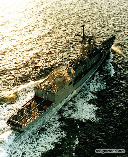 U.S. Navy guided missile frigate USS Samuel B. Roberts (FFG 58) leaves Bath Iron Works for sea trials on 4 February 1986.