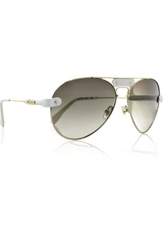 Chloé Leather-trimmed metal aviators