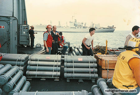 The crew piled the naval shells from the 76mm gun aboard the guided missile frigate USS SAMUEL B. ROBERTS (FFG-58) on the ship's forecastle after the ship struck an Iranian mine while in the Persian Gulf on April 14, 1988.