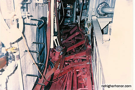A view of the main engineroom on the guided missile frigate USS SAMUEL B. ROBERTS (FFG-58) damaged when the ship struck a mine while on patrol in the Persian Gulf on April 14, 1988. Photo taken 3 May 1988. The ship was in dry dock undergoing temporary repairs.