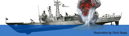 Artist's conception of 14 April 1988 mine blast to USS Samuel B. Roberts (FFG 58)