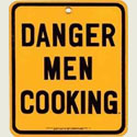 Road Sign Danger Men Cooking Porcelain Sign