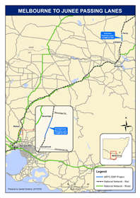 Melbourne to Junee Passing Lanes map