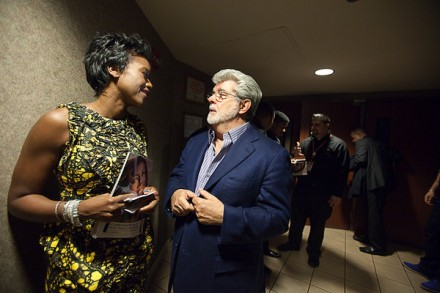 George Lucas, With Girlfriend Mellody Hobson, President of Chicago Mutual Fund Ariel Investments, which manages $3 billion dollars worth of minority set asides.