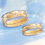Footprints In The Sand Men and Womens Rings - Footprints in the Sand Ring Bestows Inspirational Religious Comfort to Men and Women! Fine Solid 10K Gold Diamond Jewelry!