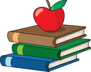Education Clipart Image: Textbooks or Schoolbooks with an Apple for Teacher on Top