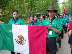 2004 - mexican scout - Mexico - Michigan - ceremony - mexican flag - Michigan International Camporee - International Scout - Boy Scouts - Flag - Scouts