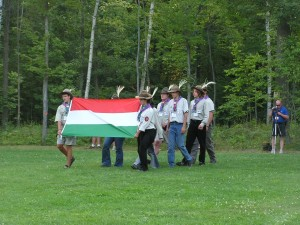 scouter - ceremony - Hungarian Scout - International Scout - 2004 - uniform - Michigan - Hungary - Michigan International Camporee - Boy Scouts - Flag - Scouts