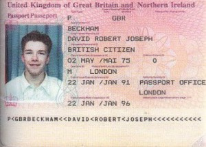David Beckham passport