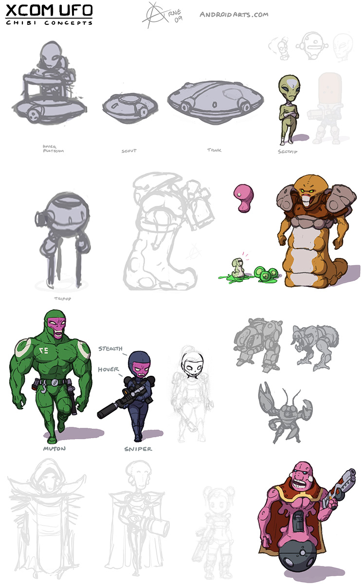 Concept art: X-COM UFO, CyberDisc, Sectoid, Celatid, Snakeman, Muton, Ethereal, Sectopod, Reaper, Lobster man, Floater.