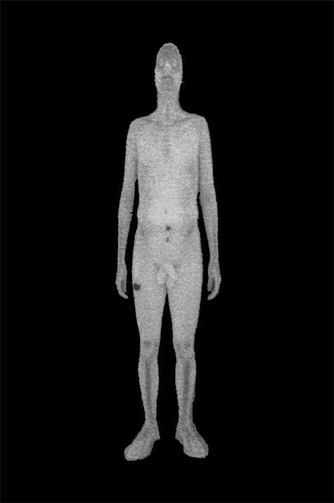 Image2 The 'Dick-Measuring Device' - Portrait of an Artist, Self-Image by John Wild taken with backscatter X-ray fully-body scanner at Manchester Airport UK