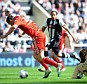 Pathetic: Andy Carroll's attempt to win a penalty against Newcastle