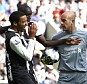 Squaring up: Pepe Reina leaned in towards James Perch with his head
