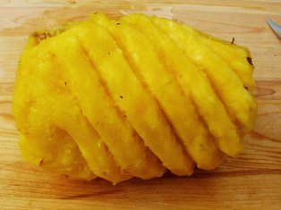 cutting pineapple: