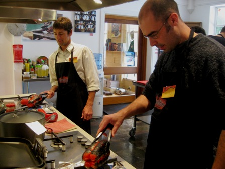 Andrew and Gary roasting peppers: