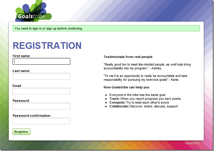 New registration screen