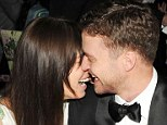 Loved up: Jessica Biel and Justin Timberlake engage in a rate public display of affection at the Costume Institute Gala Benefit in New York