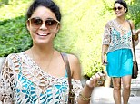Anything but blue: Vanessa Hudgens wears a happy smile as she steps out in a summery turquoise mini-dress