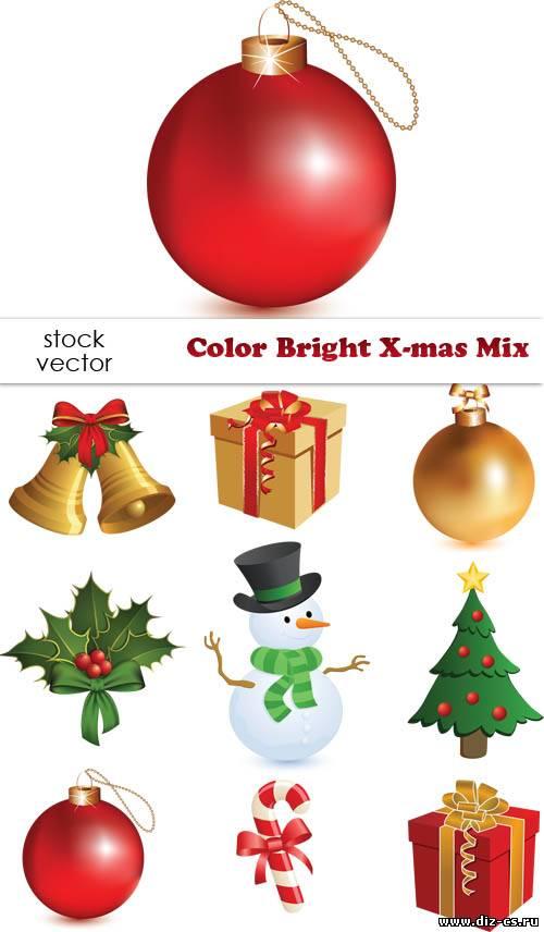 Векторный клипарт - Color Bright X-mas Mix