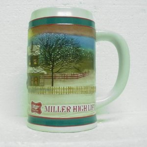 MILLER HIGH LIFE Ceramic Beer Mug - Horse and Sleigh - Ceramarte
