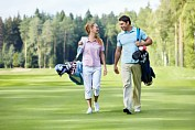 A young Russian couple on the golf course