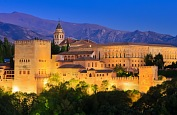 Spain tours - Alhambra palace at night, Granada. Europe vacation, Spain tourism.