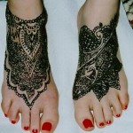 Black Henna Heavy Design For Feet 6