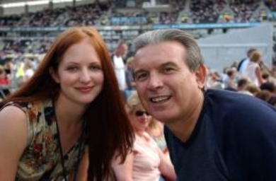 David Sneddon's girlfriend Eleanor Roffe and father also called David Sneddon at the Elton John concert at the KC Stadium in Hull