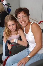 Vanessa Bowmaster (right) with daughter Megan Bowmaster, 11 who were using the stadiums disabled facilites. Elton John in concert at the KC Stadium in Hull