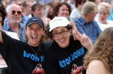 Spanish fans Montse Perez (left) and Montse Rius from Barcelona at the Elton John concert at the KC Stadium in Hull