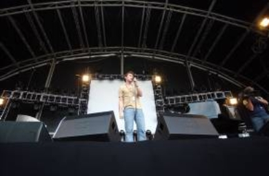 Support act  David Sneddon on stage at the Elton John concert at the KC Stadium in Hull