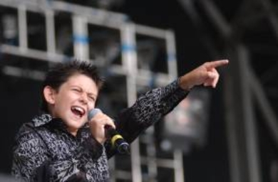 Young singer Declan Galbraith on stage at the Elton John concert at the KC Stadium in Hull.