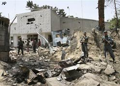 TERROR RETURNS: A suicide car bomb ripped through the front wall of the Indian Embassy in central Kabul on Monday