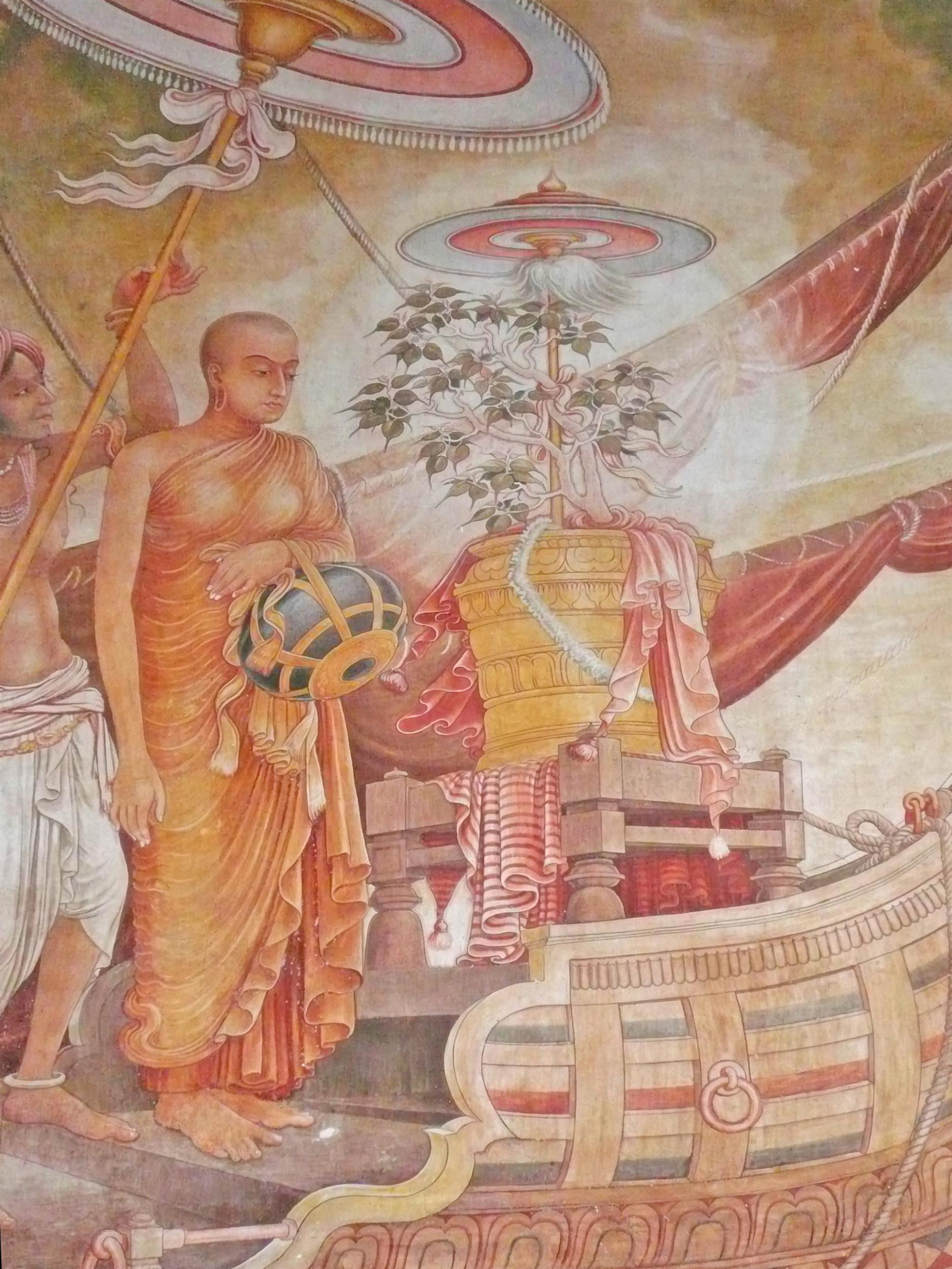 An artist's impression of Theri Sanghamitta arriving in Sri Lanka with the Bodhi