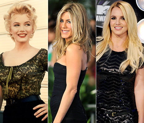 1323455109 marilyn monroe jennifer aniston britney spears article Jennifer Aniston Voted Hottest Woman of All Time!