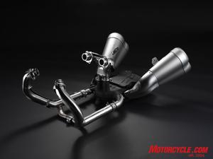 A convoluted exhaust system spits spent gasses out of titanium-skinned quad-exit mufflers.
