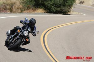 Although there are better bikes for cutting up the twisties, the VMax acquits itself well for a machine of its size.