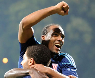 Cameron Jerome celebrates his goalscoring debut against Dynamo Kiev. ACTION IMAGES