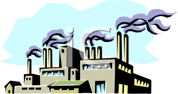 Industrial Factory with Smokestacks