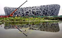 The Chinese National Olympic Stadium, also known as the Bird's Nest, holds 91,000 people.