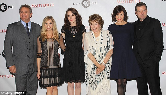 Stars of the show: Actors Hugh Bonneville, Joanne Froggatt, Michelle Dockery, Shirley MacLaine, Elizabeth McGovern and Brendan Coyle walked the red carpet in Los Angeles