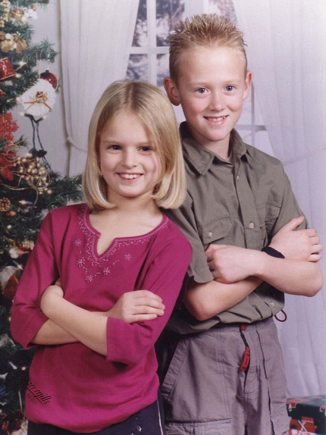 Best of friends: Holly with brother Oliver in December 2000
