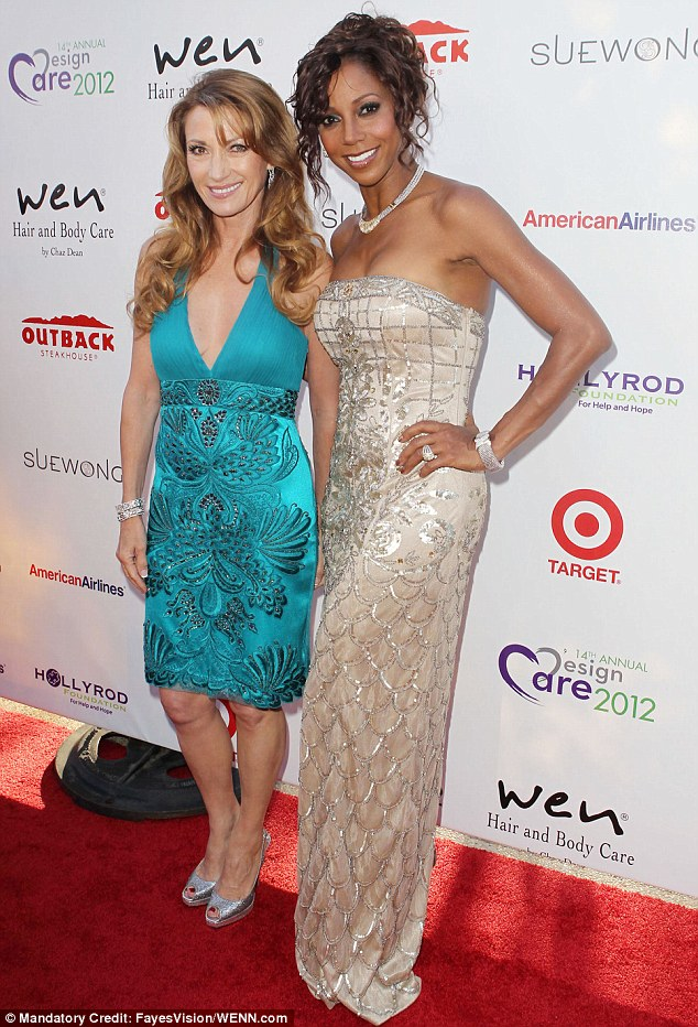Hostess with the mostest: Holly Robinson Peete poses with guest Jane Seymour at the Malibu event