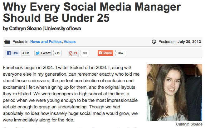 Why Every Social Media Manager Should Be Under 25