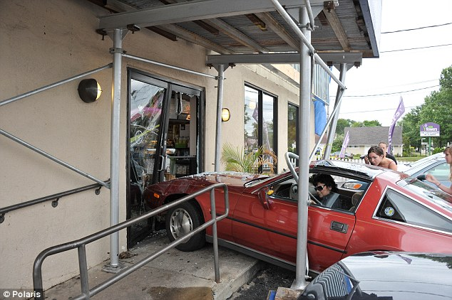 What a rush: Amazingly no one was seriously injured with a woman crashed her vehicle through the front doors of a Massapequa Starbucks on Friday