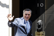 U.S. Republican presidential candidate Mitt Romney arrives at 10 Downing Street to meet with British Prime Minister David Cameron in London.