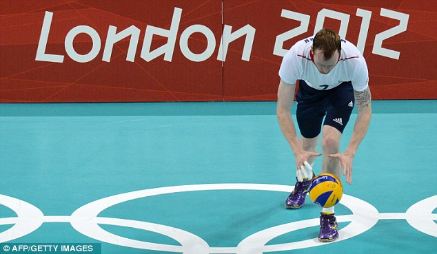 Winding up: Mark McGivern prepares to serve for Great Britain